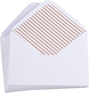 A7 Luxurious Envelope - 50-Pack Invitation Envelopes with Diagonal Lined Rose Gold Foil Stripes, 5 x 7 Gummed Seal V-Flap Invite Envelope for Wedding, Holiday, 120gsm, 5.25 x 7.25 inches, White