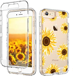 GUAGUA iPhone 6S Plus Case,iPhone 6 Plus Case Clear Transparent Cover Sunflower Floral Printed Three Layer Hybrid Hard Plastic Soft Rubber Shockproof Protective Phone for iPhone 6 Plus/6S Plus
