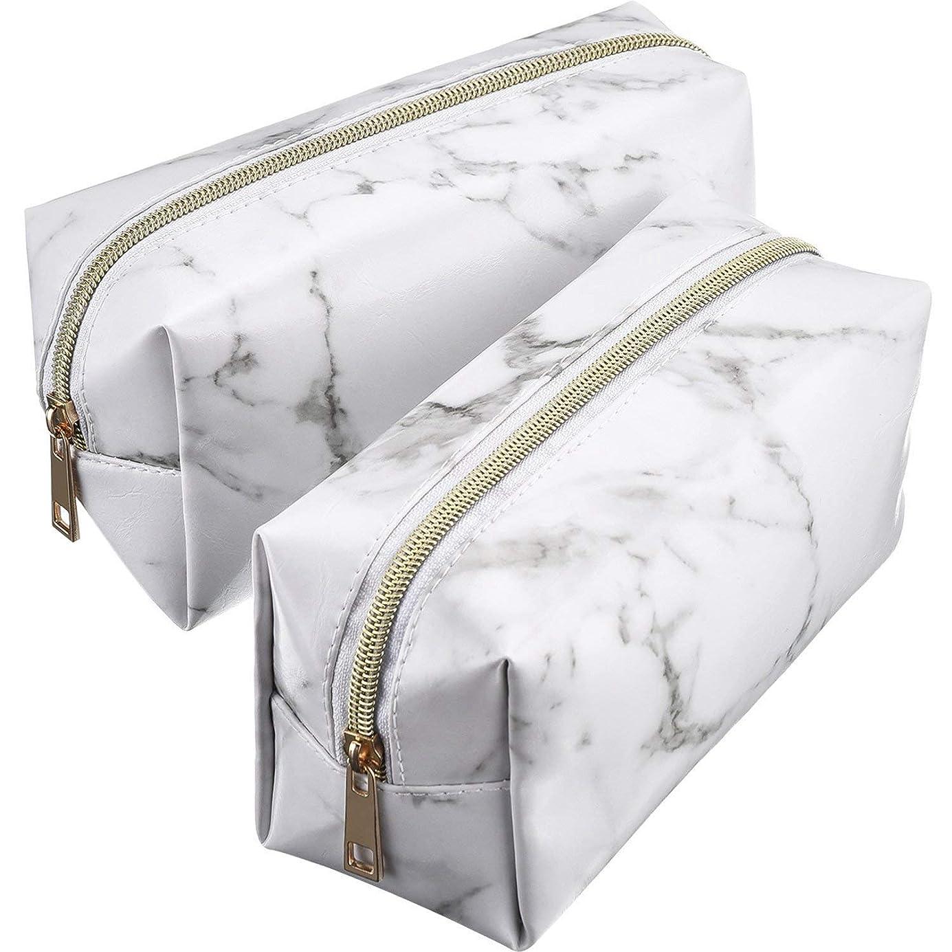 神社痛み出席TOOGOO 2個化粧品化粧品化粧袋ポーチゴールドジッパー収納袋大理石模様のポータブル化粧ブラシバッグ(ホワイト)