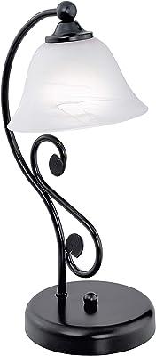 Eglo 91007 Lampe de Table, Métal, E14, Noir