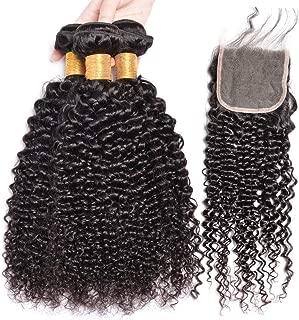 GEM Beauty Malaysian Virgin Hair Bundles With Closure Kinkys Curly Human Hair Bundles With Closure Malaysian Curly Hair 14 with 16 18 20 inch 1B Color