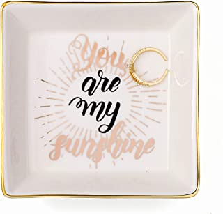 Joycuff You are My Sunshine Birthday Gifts for Her Mom Daughter Sister Best Friend Marble Ceramic Ring Dish Jewelry Earrin...