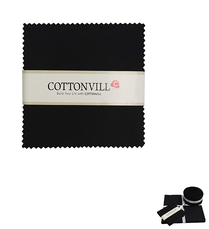 COTTONVILL Cotton Solid Precut Quilting Fabric Bundle 42 pcs, Black (5