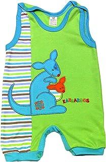 Baby Strampler zur Auswahl ohne Füßchen Größe 56-74 62, grün-Känguru