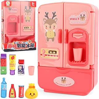 Realistic Toys Pretend Play Kitchen Set for Kids, 2-in-1 Simulation Travel Suitcase Double Door Refrigerator Set, Educatio...