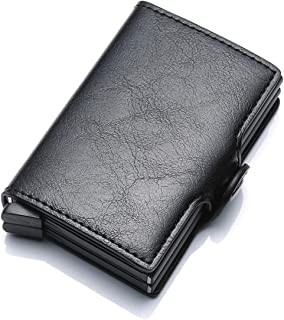 Wallet Men Bag Mini Purse Male Aluminium Rfid Card Holder Wallet Small Smart Wallet Thin Vallet Walet,Black