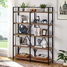 FATORRI Industrial Bookshelf 5 Tier, Rustic Wood Etagere Bookcase, Metal Tall Book Shelf with Open Shelving Unit (Rustic O...