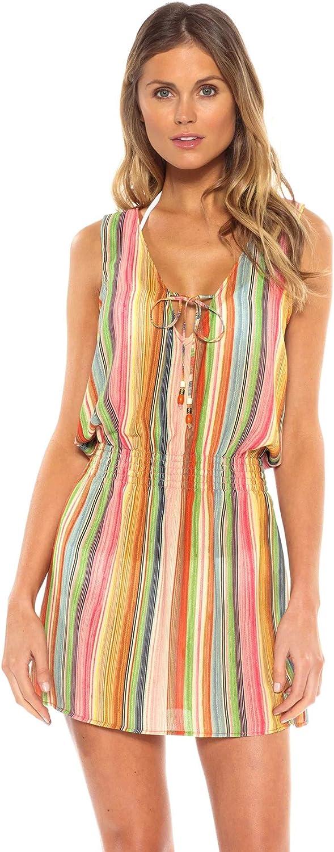 Becca by Rebecca Virtue Women's Smocked Stripe Tank Dress Swim Cover Up