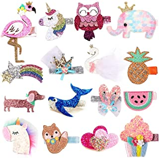 Baby Girls Hair Clips Glitter Sparkly Alligator Hair Clips Animals Hair Barrettes Hairpins Hair Accessories for Girl Teens Kids Babies Toddlers,16 pcs