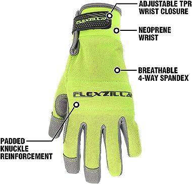 Flexzilla GH202M General Purpose, Synthetic Leather, Gray/ZillaGreen, M Women's Garden Glove, Medium
