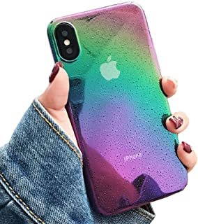 iPhone X Case, iPhone 10 Case, Ebetterr Slim Fit Raindrop Colorful Gradient Change Color Ultra Thin Lightweight Anti-Scratch Anti-Drop Clear Hard Back Protective Cover for iPhone X (2017)-Rainbow