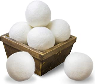SnugPad Wool Dryer Balls Natural Fabric Softener XL Size 6 Pack White 6 Count