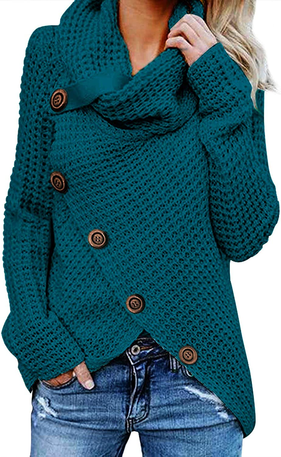 Dokotoo Women's Button Chunky Sweaters Turtle Cowl Neck Asymmetric Wrap Warm Winter Oversized Pullover Sweater