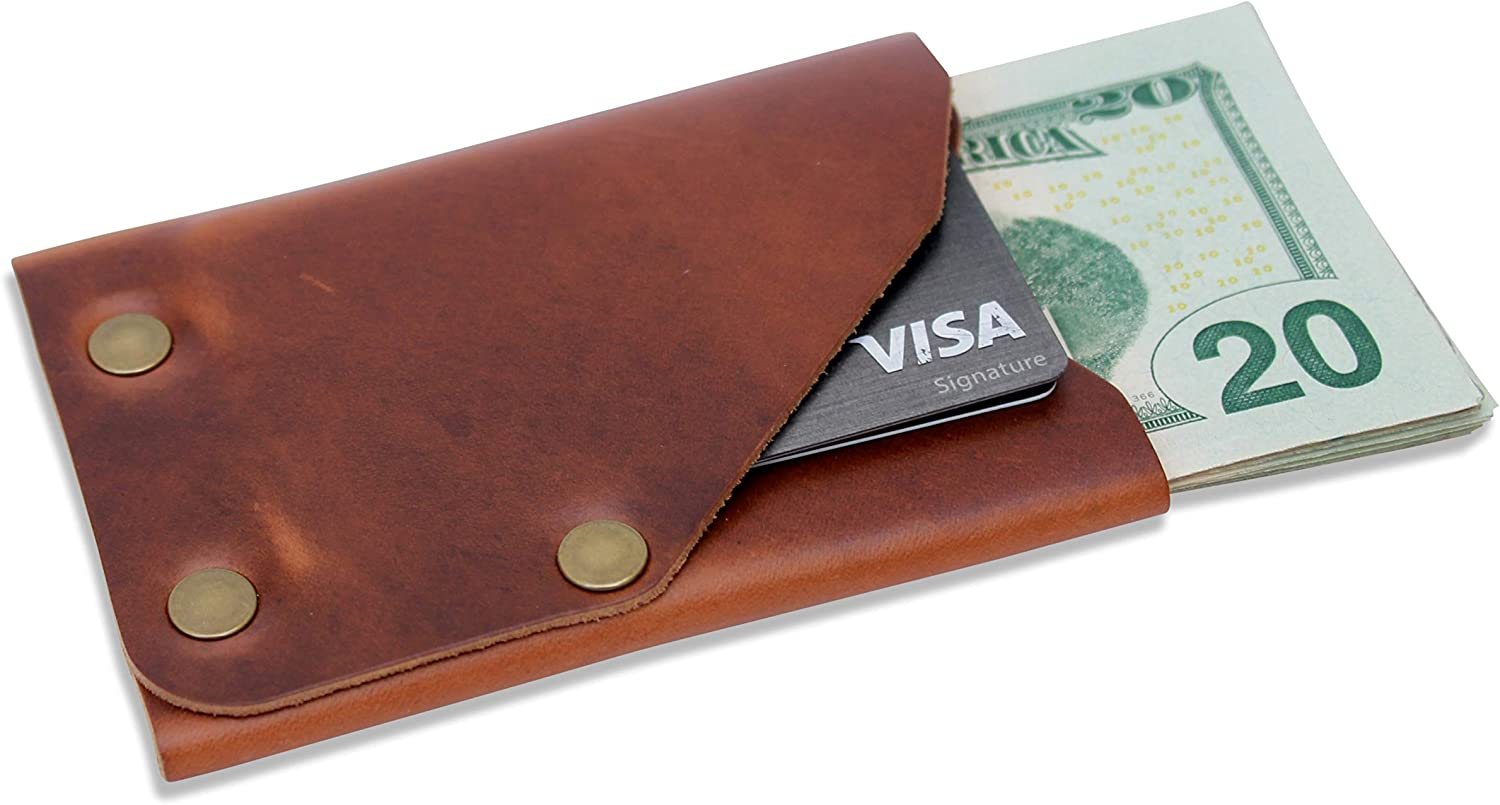 Leather Front Pocket Minimalist Wallet - Slim, Compact, Thin Credit Card Wallet