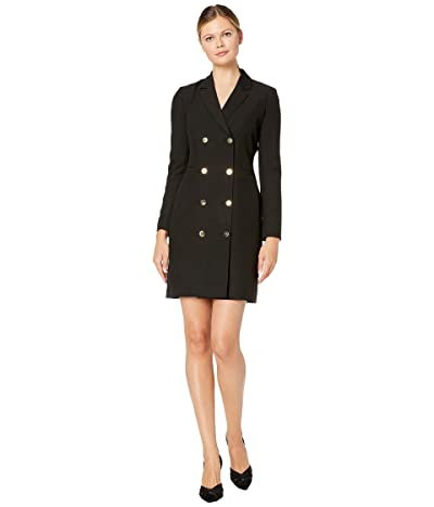 Tahari by ASL Long Sleeve Double Breasted Crepe Coat Dress w/ Notched Lapel Detail (Black) Women
