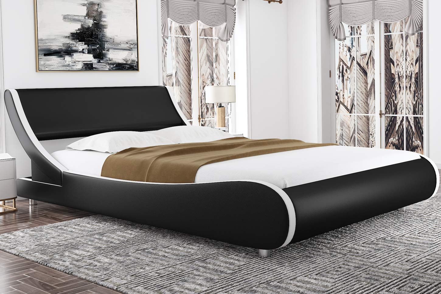 Amolife Modern Queen Size Platform Bed Frames with Adjustable Headboard,Mattress Foundation Deluxe Solid Faux Leather Bed ...