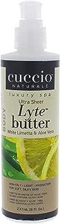 Cuccio Lyte Body Butter, White Limetta and Aloe Vera, 8 Ounce