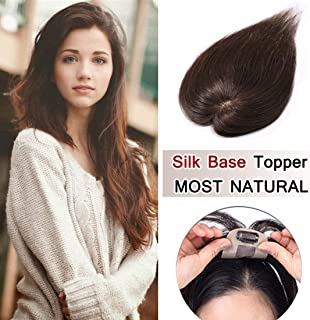 SEGO 100% Density Top Hair Pieces Silk Base Crown Topper Human Hair Clip in Hair Toppers Top Hairpieces for Women with Thinning Hair Gray Hair/Hair Loss #04 Brown 6 Inch 15g