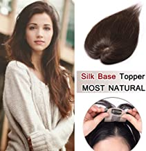 SEGO 100% Density Top Hair Pieces Silk Base Crown Topper Human Hair Clip in Hair Toppers Top Hairpieces for Women with Thinning Hair Gray Hair/Hair Loss #04 Medium Brown 16 Inch 30g