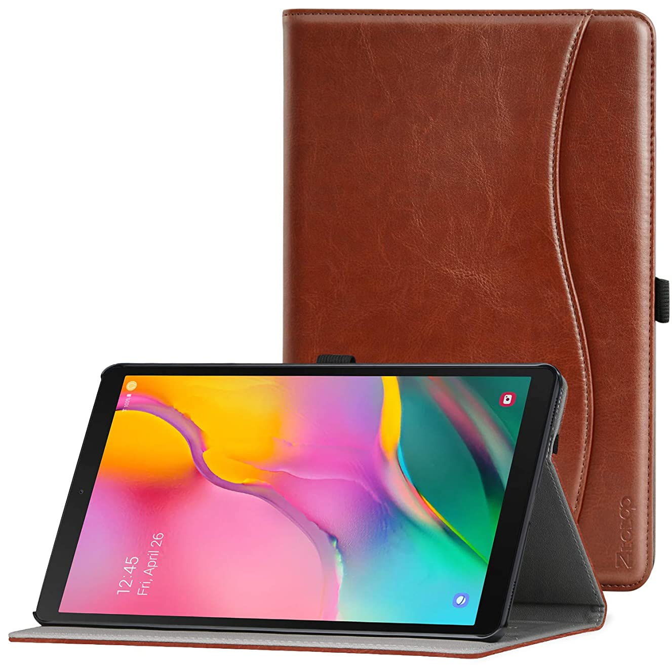 Ztotop Case for Samsung Galaxy Tab A 10.1 Inch Tablet 2019(SM-T510/T515), PU Leather Folding Stand Folio Cover with Pen Holder, Card Pocket and Multiple Viewing Angles,Brown
