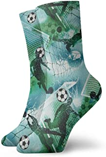 Elsaone, Deportes Fútbol Niño Fútbol Azul Verde Unisex Transpirable Fantasía Tobillo Correr Senderismo Calcetines deportivos Calcetines de equipo 30 cm / 11.8 pulgadas
