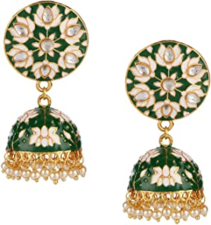 Efulgenz Indian Bollywood 14K Gold Plated Traditional Wedding Green Jhumka Jhumki Earrings Jewelry Set