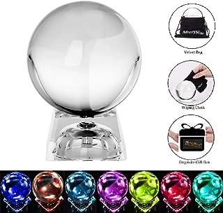 MerryNine Photograph CrMerryNine Crystal Meditation Ball Globe, ystal Ball with A Stand, K9 Crystal Suncatchers Ball, Home Decoation Ornaments, Photography Accessory (80mm/3.2