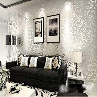 QIHANG High-Grade Flocking Victorian Damask/Embossed Wallpaper Roll Silver and Gray Color 0.53m10m=5.3sqm