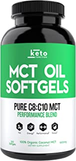 KETO Function MCT Oil Capsules - 240 Organic C8 MCT Pills from Pure Coconut Oil - The Perfect Keto Diet Pill - Easy to Dig...