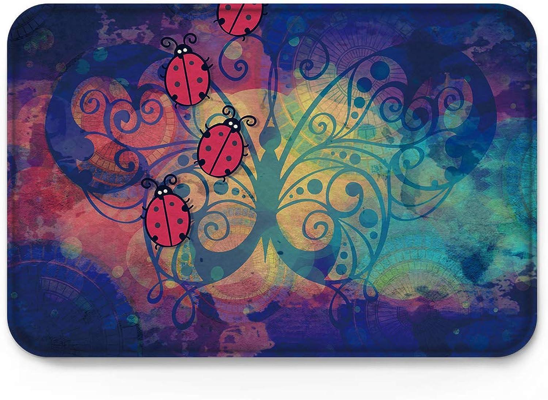 Indoor Non Slip Welcome Doormat - Cartoon Beetle Butterfly Background -Non Slip Door Floor Mats Home Decor -Size 2031.5