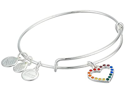 Alex and Ani Crystal Infusion Rainbow Heart Bangle Bracelet (Silver) Bracelet