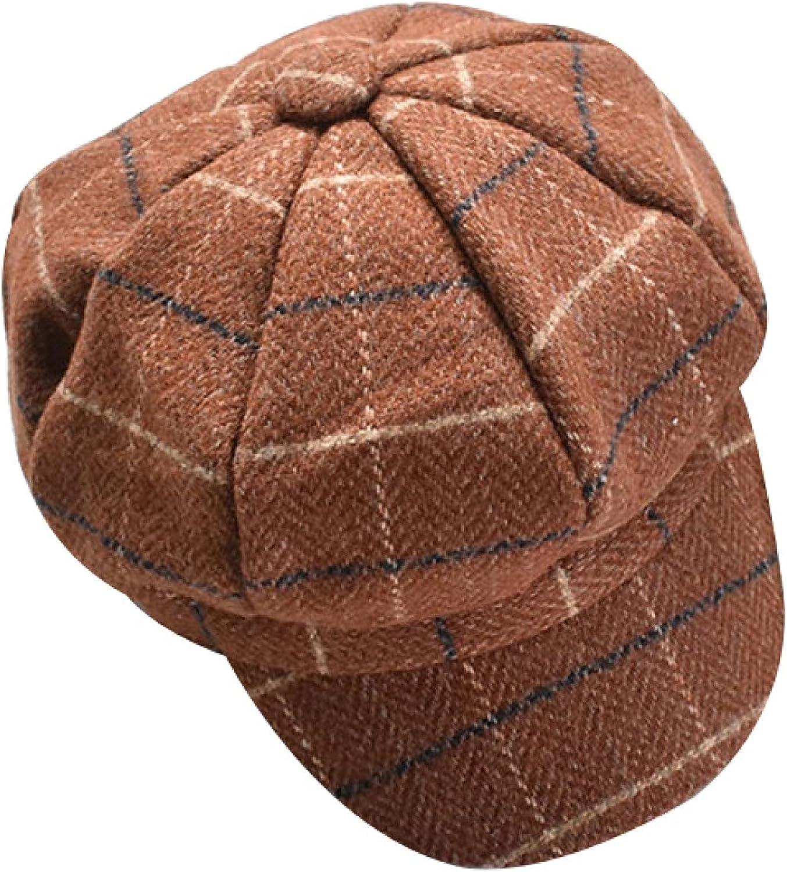 AOBRICON Autumn and Winter Retro Checkered Felt Beret Men and Women Newsboy Hat Fashion Painter Barrett French Octagonal Hat