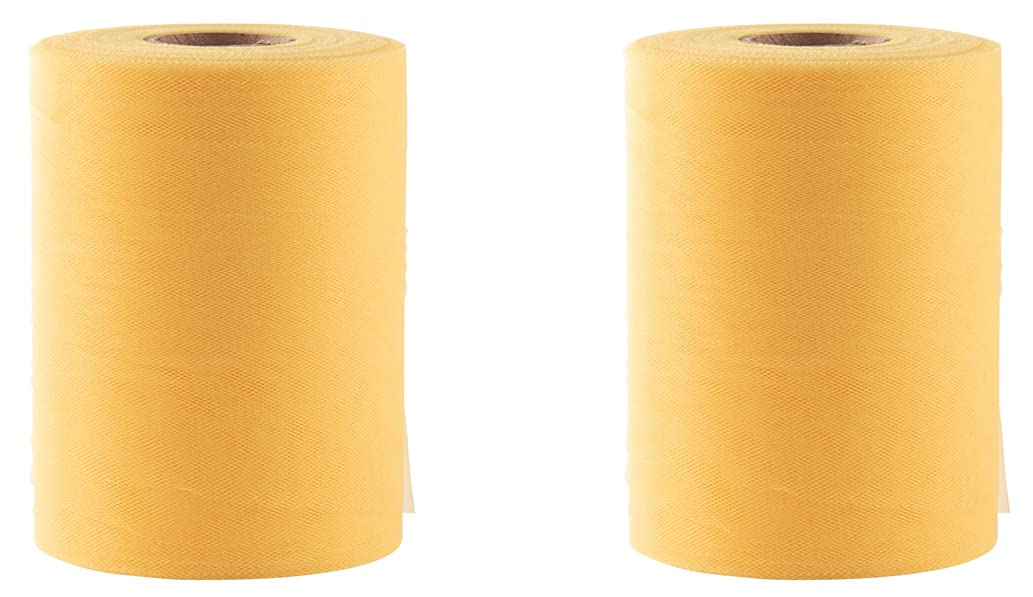 Tulle Rolls - 2-Pack Tulle Spool Ribbon, Fabric for Wedding, Party Decoration, Gifts Presents Wrapping, Tutu Skirts, Gold, 6 inches x 100 Yards