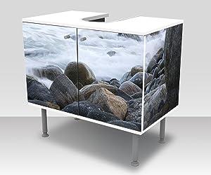 wandmotiv24 Badunterschrank Tormenta en Alnes, Giske Diseño baño Armario M1042 Frente y Lados pegando gabinete de la vanidad