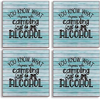 You Know What Rhymes with Camping Alcohol Coasters for Drinks with Cork Backing, Camper Camping Lover Gifts Apartment Livi...