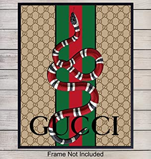 Gucci Art Print Wall Art Poster - Modern Chic Home Decor for Bedroom, Living Room, Bathroom, Office - Gift for Men, Women, Fashion Designer, Fashionista - 8x10 Photo- Unframed