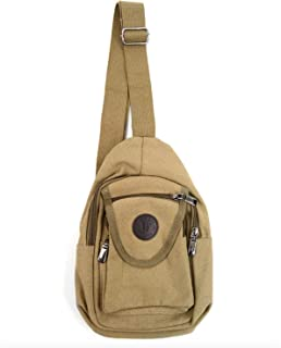 WestEnd Compact Canvas Sling Bag & Cross-body Chest or Shoulder Backpack (Tan)