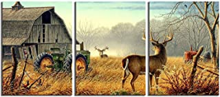 Canvas Wall Art Wildlife Animals Printed Painting Artwork for Home Decor (Brown, S)