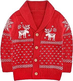 SANMIO Toddler Baby Boys Girls Deer Christmas Cardigan Sweater Button-up Cotton Coat