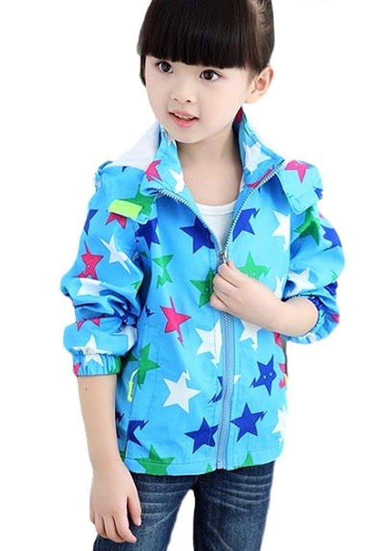 [Nana_Collection(ナナコレクション)] 春 キッズ ジュニア 子供 星 スター柄 防風 パーカー フード付き ジッパー ジャケット ブルー 120cm