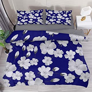 LvShen White Flowers California King Size 3 Pieces Printed Bedding Sets Bed Coverlet Duvet Cover Set with 1 Duvet Cover and 2 Pillow Cases Shams for Home Women Men