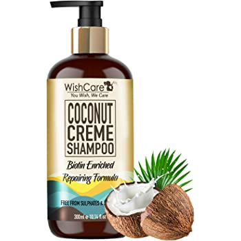WishCare® Coconut Crème Shampoo - Repairing Formula - Free from Mineral Oils, Sulphates & Parabens - 300 Ml (Enriched with Biotin)