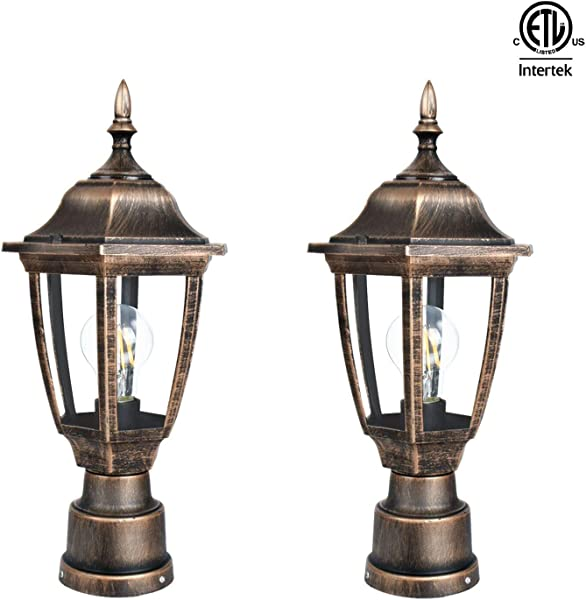 FUDESY 2 Pack Post Light Fixtures Outdoor Plastic LED Black Golden Post Lanterns Include 12W 1200LM Edison Filament Bulb Corded Electric FDS2543G