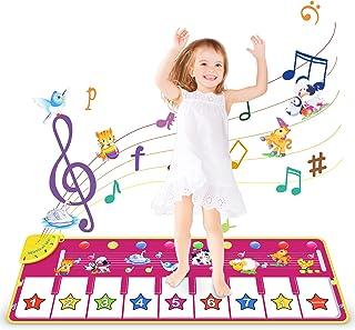 WOSTOO Pianomatta, dansmattor för barn, söta djurröster piano tangentbord musikmatta leksaker, matta touch spela pianomatt...