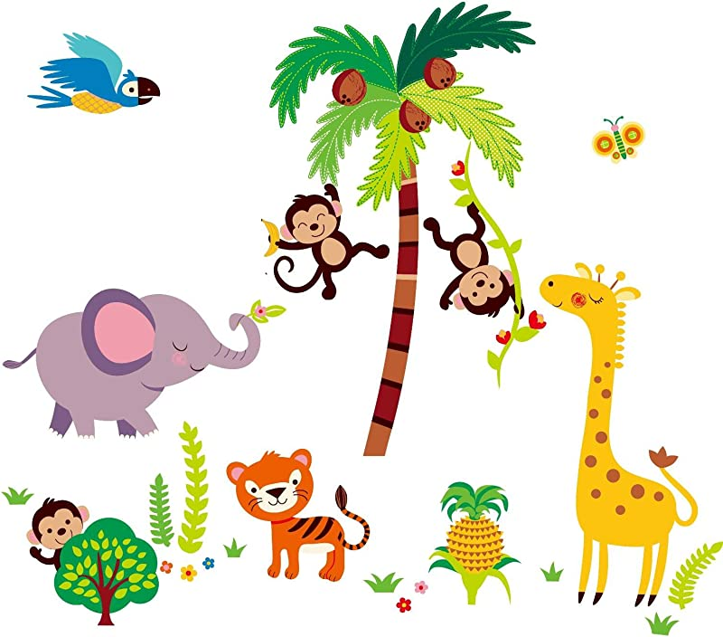 Giant Nursery Kids Room Wall Sticker Decals Tumble In The Jungle Monkeys Stickers