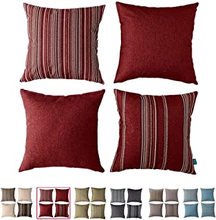 HPUK Decorative Red Throw Pillow Covers, Set of 4 17 x 17 Cushion Covers, with Woven Check Multi-Pattern Story, Woven Stripes, Wool Look