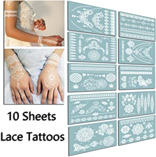 TAFLY Lace White Chains Tattoo Waterproof Body Transfer Tattoos Stickers for Women & Girls -150 Designs Bracelets,Necklaces,Tribe,Totem,Wing etc