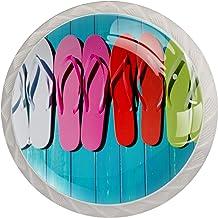 Lade handgrepen kabinetknoppen knoppen rond Pack van 4 voor kast, lade, borst, dressoir etc - Houten filpflop Plank