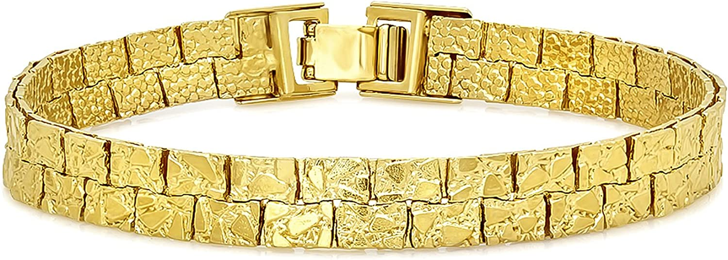 The Bling Factory 5.7mm-7.5mm 14k Flat Alternative dealer Plated Gold Nugget New sales Chain