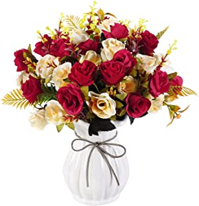 LIVILAN Artificial Roses with Ceramic Vase 4 Bouquets Artificial Roses Fake Silk Roses Silk Flowers Arrangement for Wedding Party Home Decor Office Kitchen Table Centerpieces Red